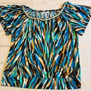 Fashion Bug Top with Beaded Accent Neckline
